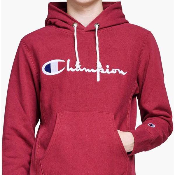 Champion Script Logo Reverse Weave Hoodie Burgundy