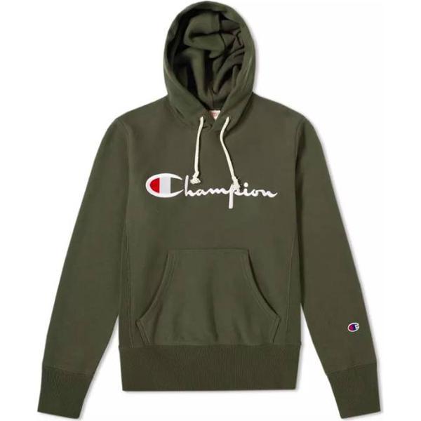 Champion Script Logo Reverse Weave Hoodie Green