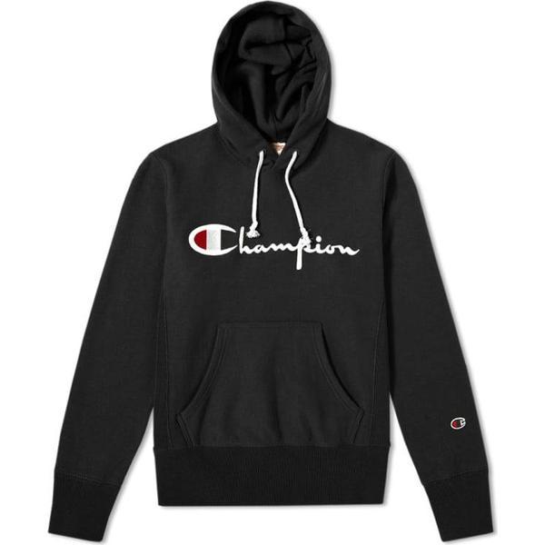 Champion Script Logo Reverse Weave Hoodie Black