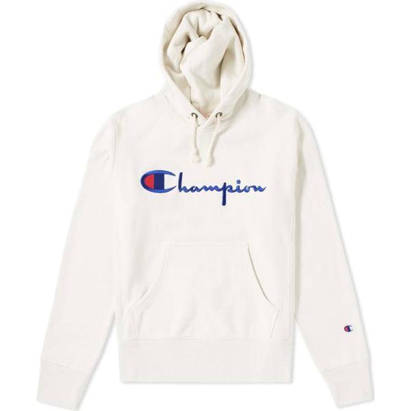 Champion Script Logo Reverse Weave Hoodie White