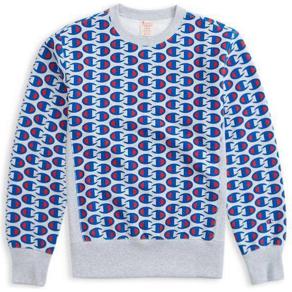 Champion Allover C Logo Print Reverse Weave Sweatshirt Light Grey