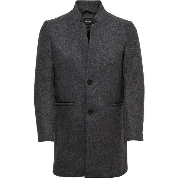 Only & Sons Wool Trenchcoat Grey/Dark Grey Melange