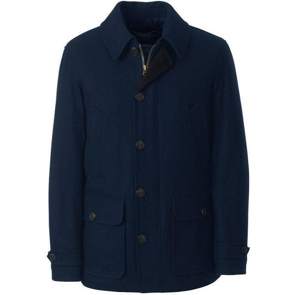 Lands End Wool Blend Car Coat Classic - Navy