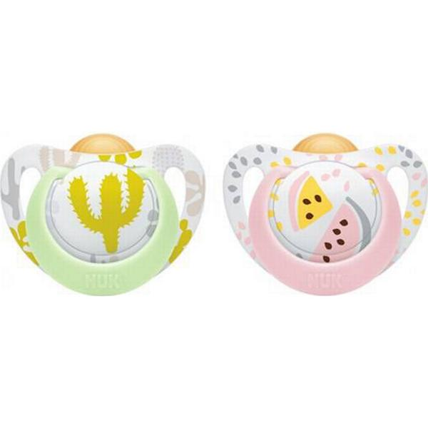 Nuk Genius Color Latex Pacifier Size 2 6-18m Pink Melon/Green Cactus 2-pack