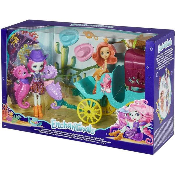 Mattel Enchantimals Seahorse Carriage Sandella Seahorse Doll & Playset