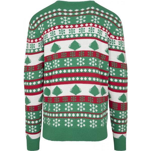 Urban Classics Snowflake Christmas Tree Sweater - Tree Green /White /Fire Red