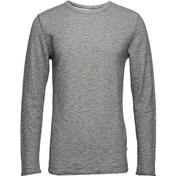 Knowledge Cotton Apparel Double Layer Striped Sweatshirt - Dark Grey Melange