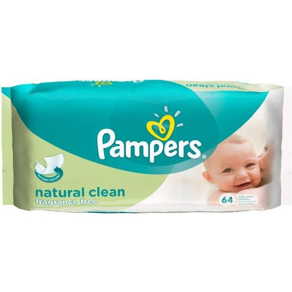 Pampers Natural Clean Baby Wipes 64pcs