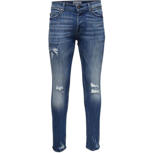 Only & Sons Spun Blue Damage Slim Fit Jeans Blue/Blue Denim (22010456)