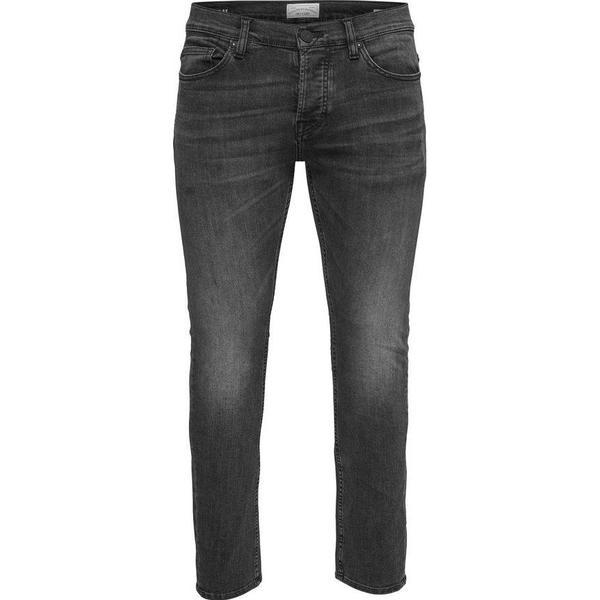 Only & Sons Loom Black Washed Slim Fit Jeans - Black/Black Denim