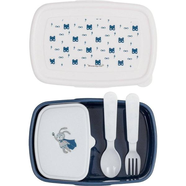 Bloomingville Superhero Food Box with Cutlery Blue