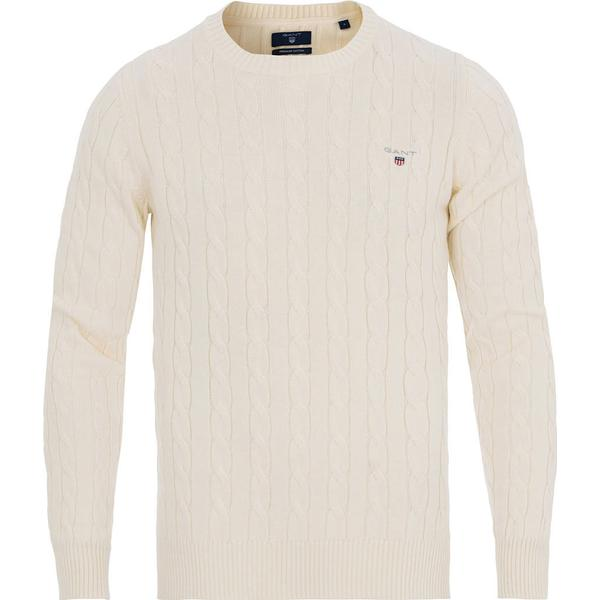 Gant Cotton Cable Crew Sweater - Cream