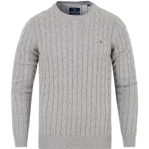 Gant Cotton Cable Crew Sweater - Grey Melange