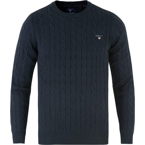 Gant Cotton Cable Crew Sweater - Evening Blue