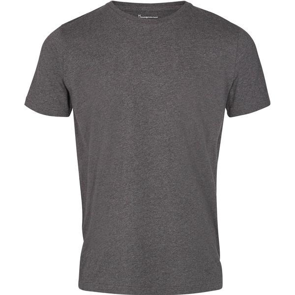 Knowledge Cotton Apparel Basic Regular Fit O-Neck Tee - Dark Grey Melange