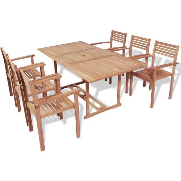 vidaXL 43038 Havemøbelsæt, 1 borde inkl. 6 stole