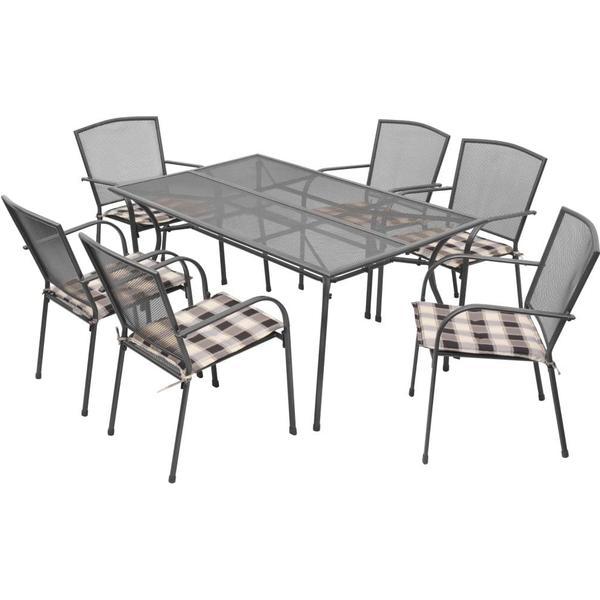 vidaXL 42713 Havemøbelsæt, 1 borde inkl. 6 stole