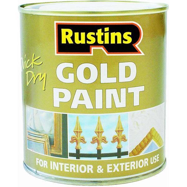 Rustins Quick Dry Gold Wood Paint, Metal Paint Gold 0.25L