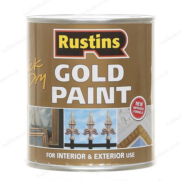 Rustins Quick Dry Gold Wood Paint, Metal Paint Gold 0.5L