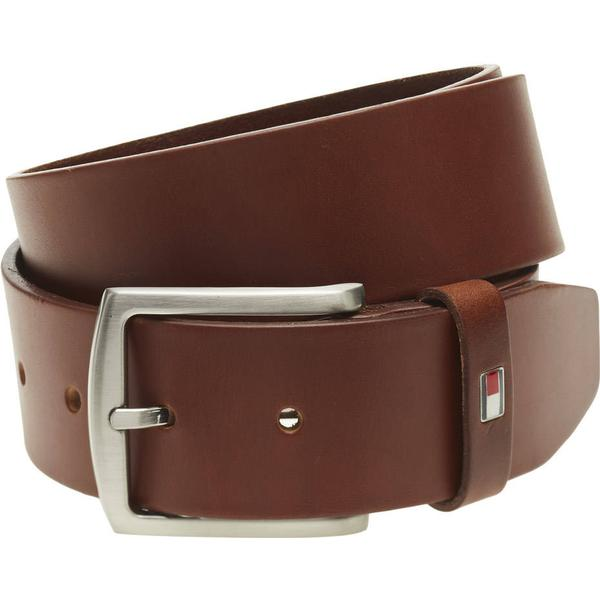 Tommy Hilfiger Denton Flag Logo Leather Belt - Dark Tan