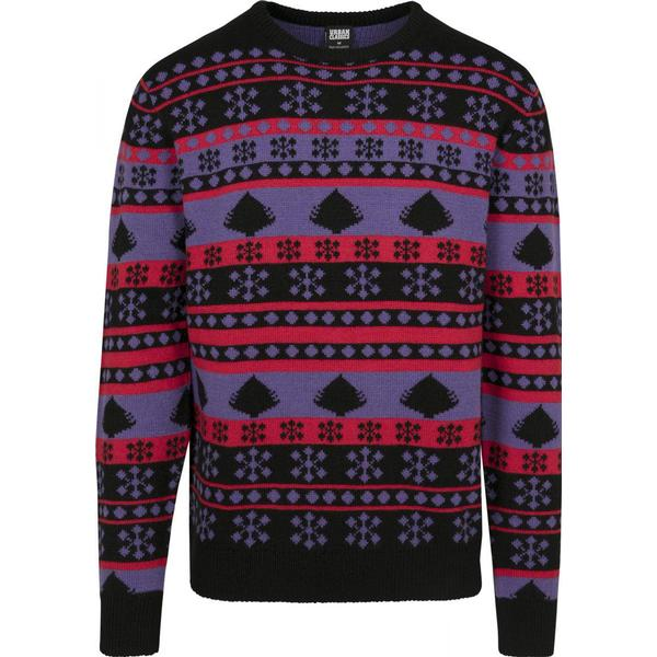 Urban Classics Snowflake Christmas Tree Sweater - Ultra Violet /Black/ Fire Red