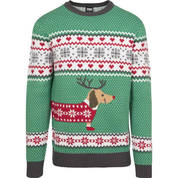 Urban Classics Sausage Dog Christmas Sweater - Treegreen/White/Red/Darkgrey