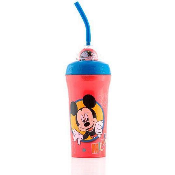 Micky und Goofy Plastikbecher mit Strohhalm