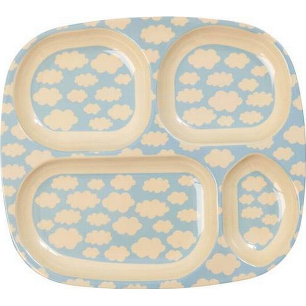 Rice Melamine Kids 4 Room Plate with Cloud Print