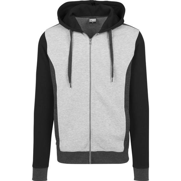 Urban Classics 3-Tone Sweat Zip Hoody - Grey/Charcoal/Black