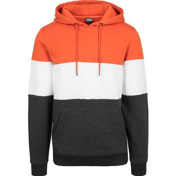 Urban Classics 3-Tone Hoody Chrome - Rust Orange/White/Charcoal