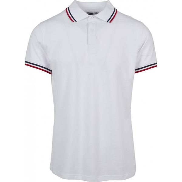 Urban Classics Double Stripe Polo Shirt - White/Navy/Fire Red