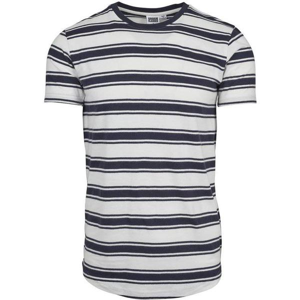 Urban Classics Double Stripe Long Shaped Tee - Offwhite/Navy