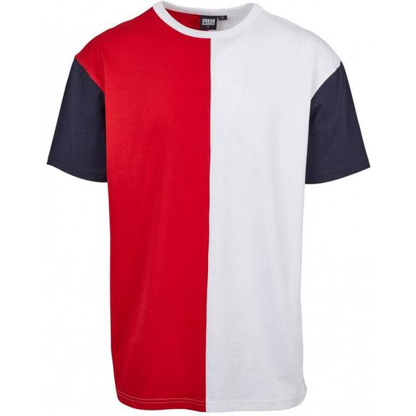Urban Classics Oversize Harlequin Tee - Fire Red/White/Navy