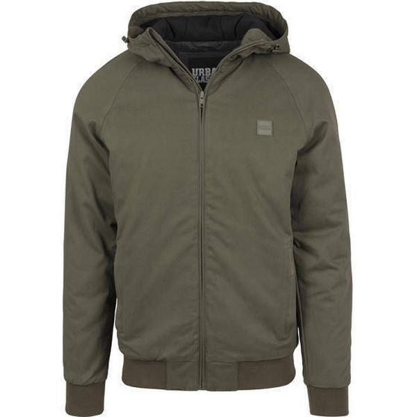 Urban Classics Hooded Cotton Zip Jacket - Darkolive