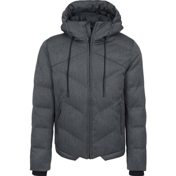 Urban Classics Heringbone Hooded Winter Jacket - Grey/Black