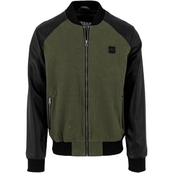 Urban Classics Cotton Bomber Leather Imitation Sleeve Jacket - Olv/Blk