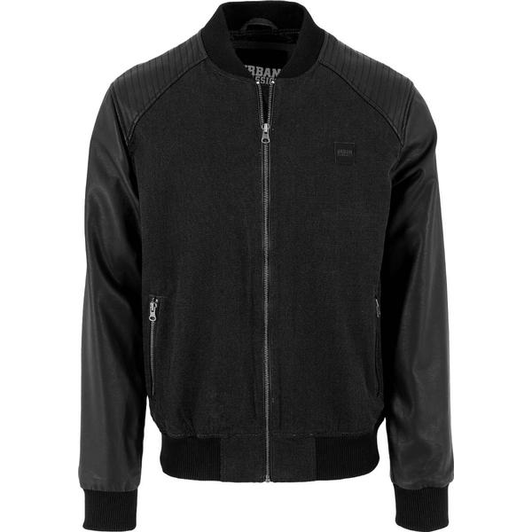 Urban Classics Cotton Bomber Leather Imitation Sleeve Jacket - Blk/Blk