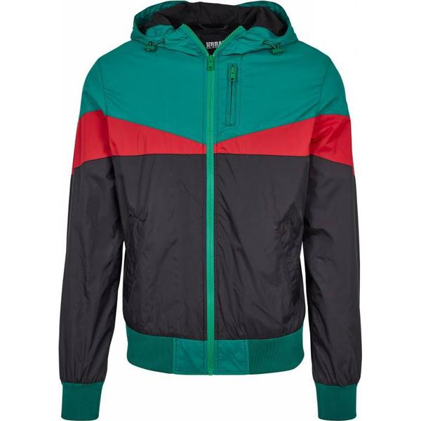 Urban Classics Advanced Arrow Windrunner - Black/Green/Fire Red