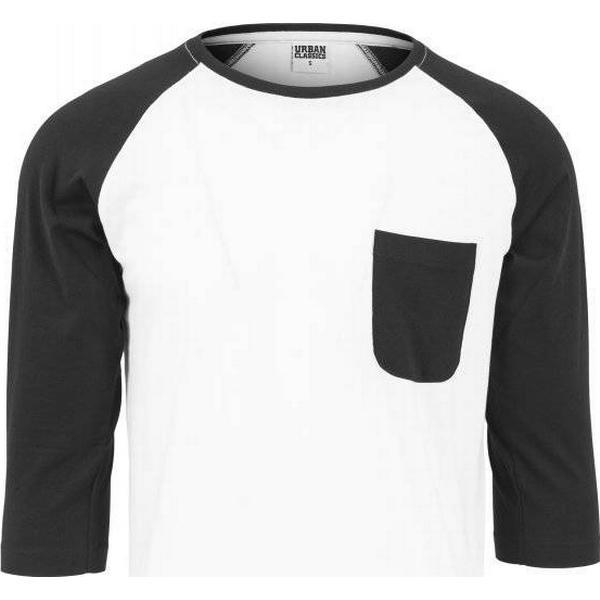 Urban Classics Long Raglan 3/4 Sleeve Pocket Tee - White/Black