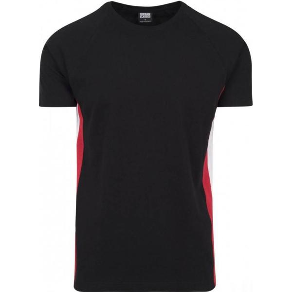 Urban Classics Raglan Side Stripe Tee - Black/Fire Red/White
