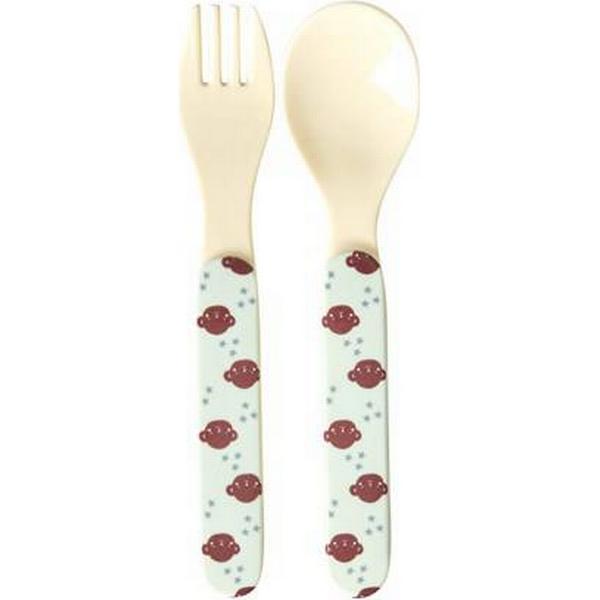 Rice Kids Melamine Spoon & Fork Set Monkey Print