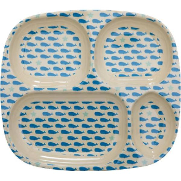 Rice Kids Melamine 4 Room Plate with Whales & Starfish Print