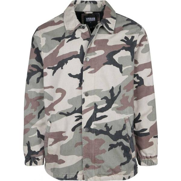 Urban Classics Camo Cotton Coach Jacket - Wood Camo