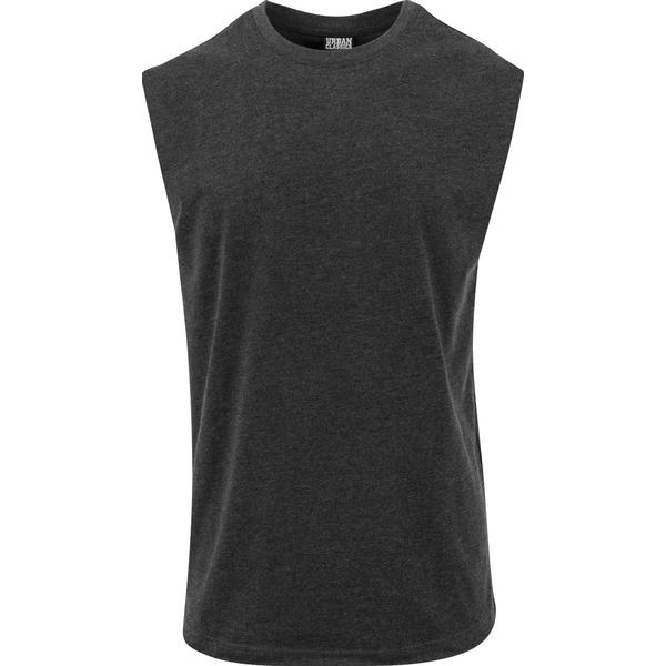 Urban Classics Open Edge Sleeveless Tee - Charcoal