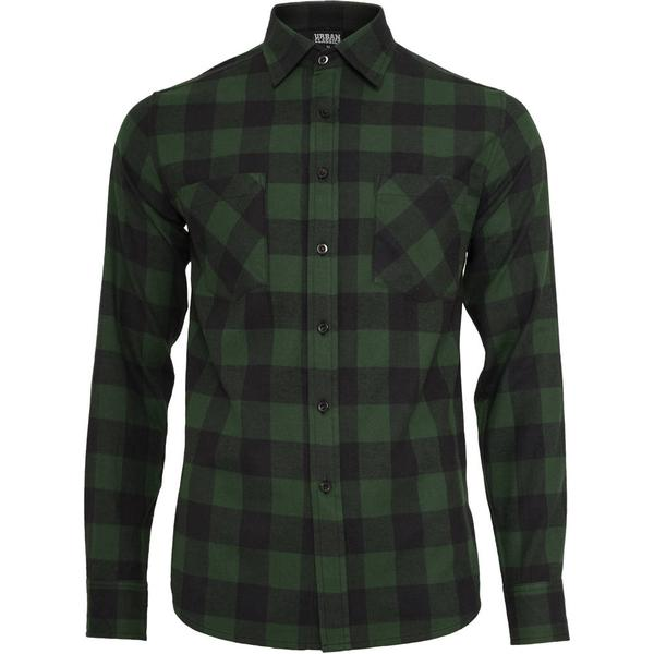 Urban Classics Checked Flannel Shirt - Black/Forest
