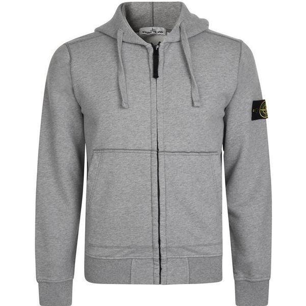 Stone Island Badge Zip Hooded Sweatshirt - Grey V1064