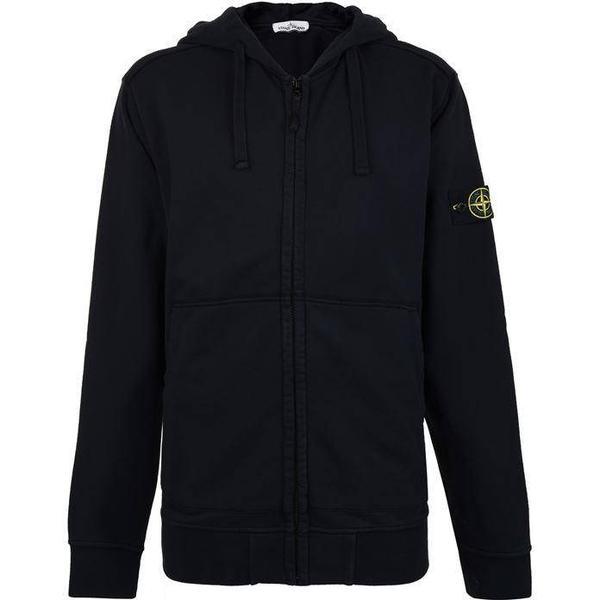 Stone Island Badge Zip Hooded Sweatshirt - Navy V0020