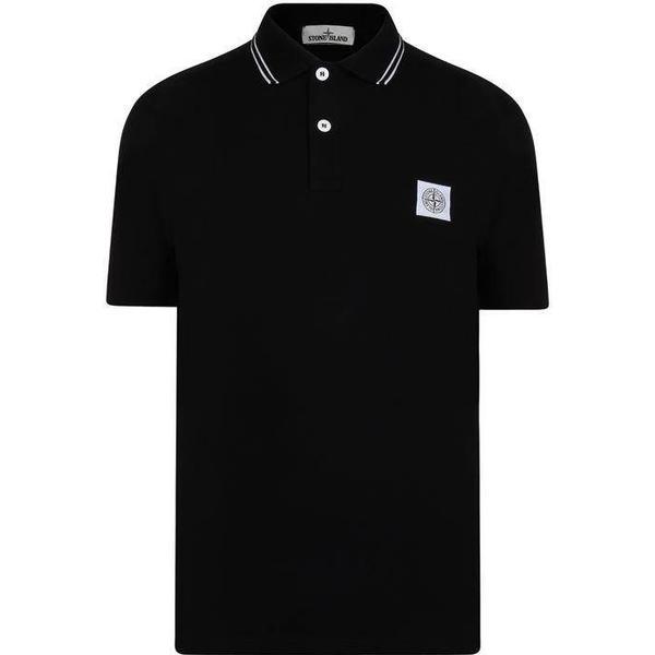 Stone Island Tipped Badge Logo Polo Shirt - Black V0029