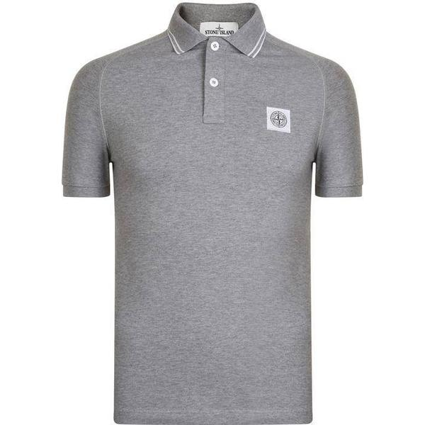 Stone Island Tipped Badge Logo Polo Shirt - Grey V1064