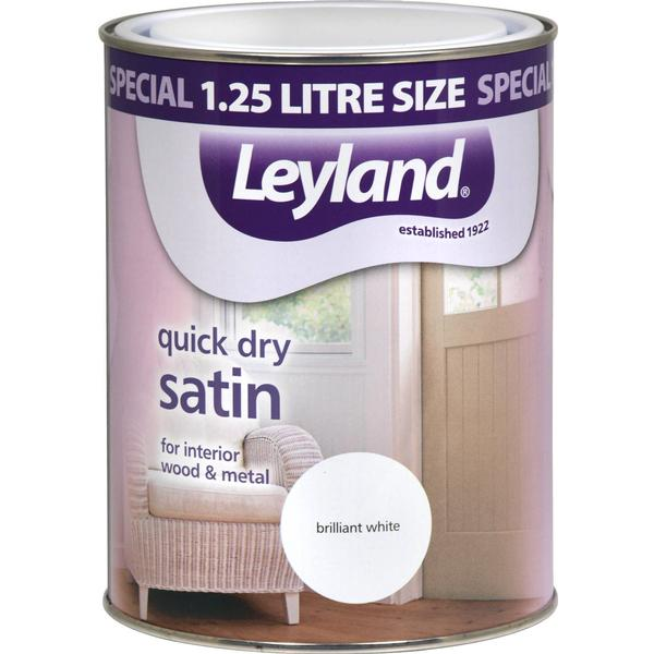 Leyland Trade Quick Dry Satin Wood Paint, Metal Paint White 1.25L